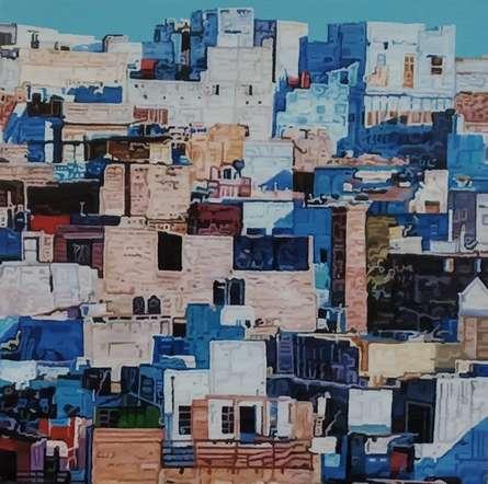 Ganesh Pokharkar   Oil Painting title Cityscape 7 on Canvas   Artist Ganesh Pokharkar Gallery   ArtZolo.com