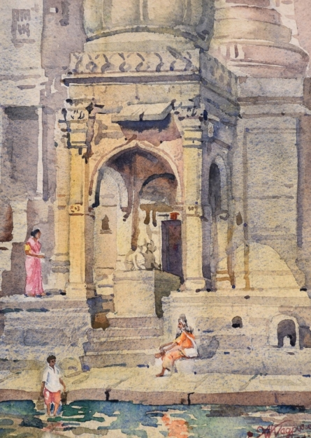 Ambadas Nagpure | Watercolor Painting title Cardinal Transcendence on Paper | Artist Ambadas Nagpure Gallery | ArtZolo.com