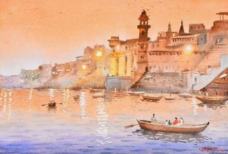 Ambadas Nagpure | Watercolor Painting title Evening At Banaras on Paper