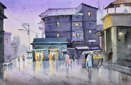 Cityscape Watercolor Art Painting title Evening At Nashik by artist Ambadas Nagpure