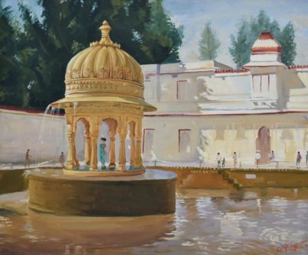 Ambadas Nagpure | Oil Painting title Harmonious Cenotaph on Canvas | Artist Ambadas Nagpure Gallery | ArtZolo.com
