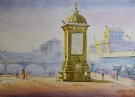 Ambadas Nagpure | Watercolor Painting title Morning Moment on Paper | Artist Ambadas Nagpure Gallery | ArtZolo.com