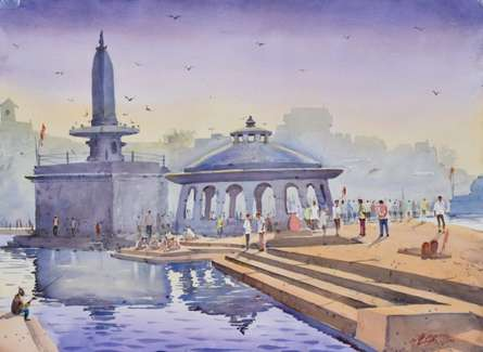 Ambadas Nagpure | Watercolor Painting title Silent Reflection on Paper