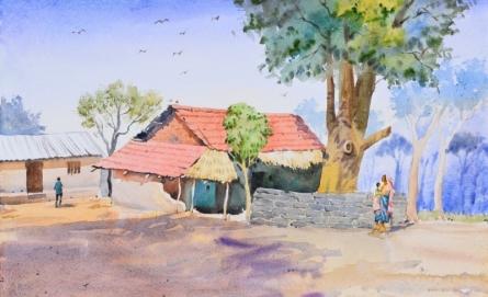 Landscape Watercolor Art Painting title Villlage Life by artist Ambadas Nagpure