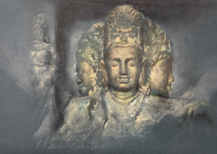 Religious Soft-pastel Art Drawing title 'Elephanta' by artist Abhijeet Patole