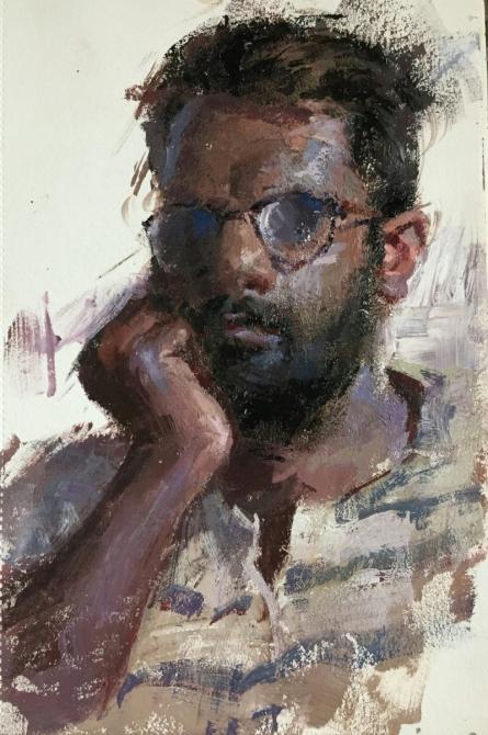 Portrait Charcoal Art Painting title Labour by artist Abhijeet Patole