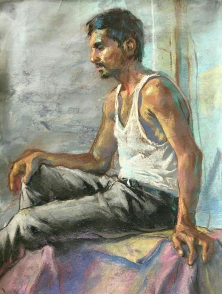 Figurative Acrylic Art Painting title 'Pandit' by artist Abhijeet Patole
