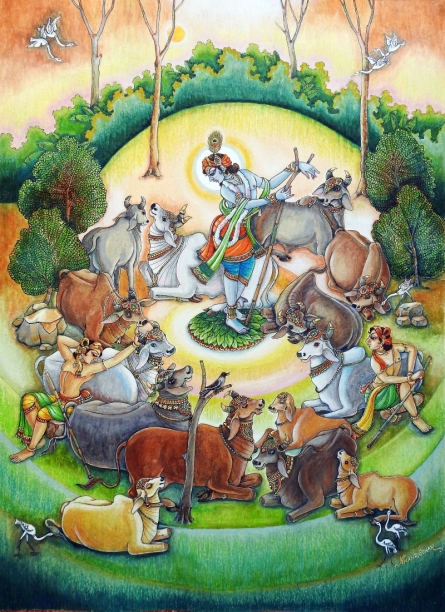 Religious Mixed-media Art Painting title Gopalak by artist Anand Sonar