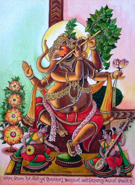 Anand Sonar | Mixed-media Painting title Lord Ganesha 2 on Handmade Paper | Artist Anand Sonar Gallery | ArtZolo.com