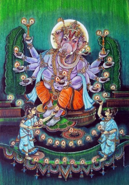Religious Mixed-media Art Painting title Maha Ganpati by artist Anand Sonar