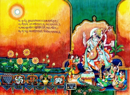 Religious Mixed-media Art Painting title Saraswati Devi by artist Anand Sonar
