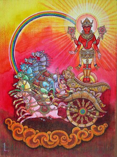 Religious Mixed-media Art Painting title Suryadev by artist Anand Sonar