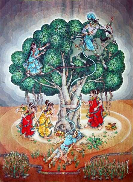 Religious Mixed-media Art Painting title Vatsavitri by artist Anand Sonar