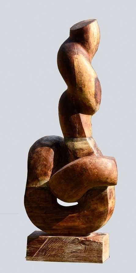 Wood Sculpture titled 'Nature 2' by artist Rajnish Verma