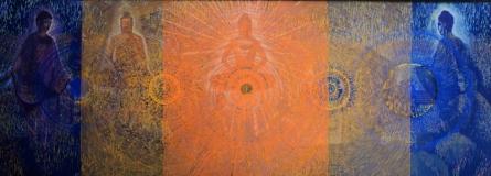 Religious Acrylic Art Painting title 'Buddha Life' by artist Ghanshyam Gupta