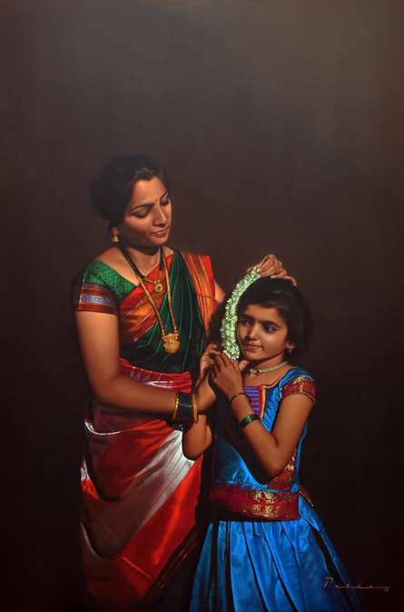 Figurative Color-pencil Art Drawing title Mother And Child by artist Deepak Patil