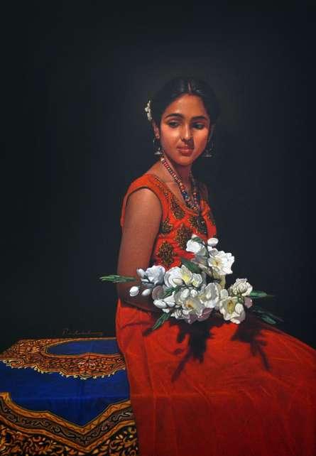 Figurative Color-pencil Art Drawing title Pushpvirahini by artist Deepak Patil