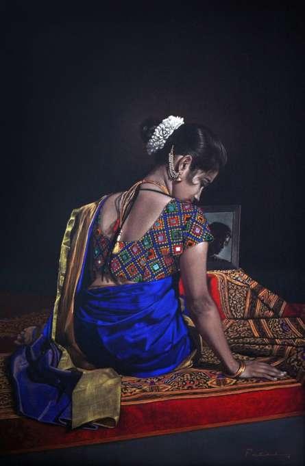 Figurative Color-pencil Art Drawing title Sitting Lady by artist Deepak Patil