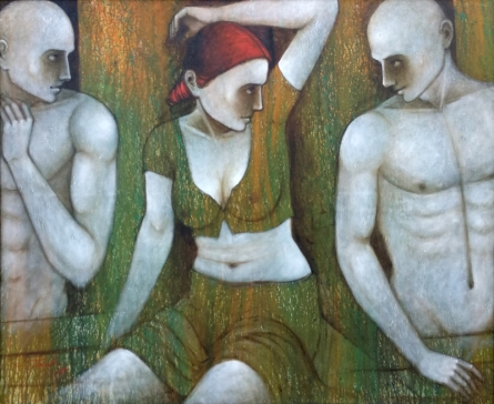 Figurative Acrylic Art Painting title Bond Of Love by artist Asit Kumar Patnaik