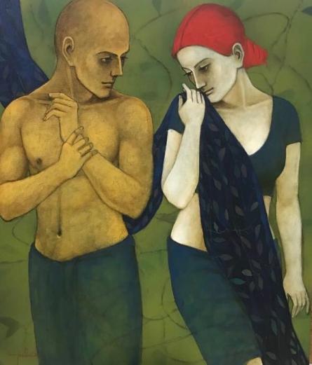 Figurative Acrylic Art Painting title 'Hushed' by artist Asit Kumar Patnaik