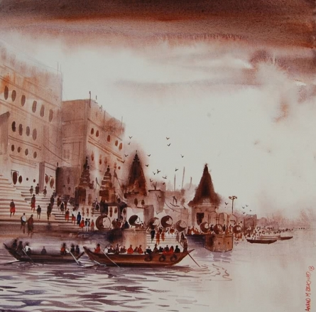 Cityscape Acrylic Art Painting title 'Banaras Ghat 2' by artist Anand Bekwad