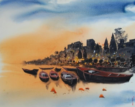 Cityscape Acrylic Art Painting title 'Banaras Ghat 5' by artist Anand Bekwad