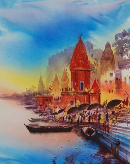 Anand Bekwad | Acrylic Painting title Banaras Temple on Canvas