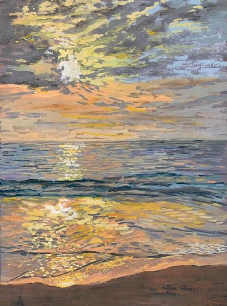 Seascape Mixed-media Art Painting title Beach by artist Jaya Javeri