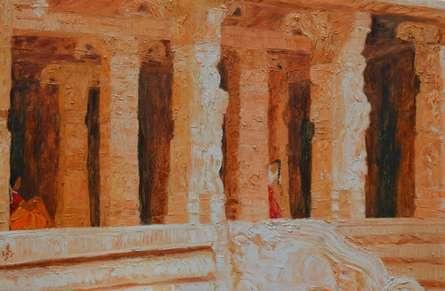Jaya Javeri | Oil Painting title Orange Temple on Canvas