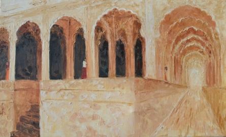 Jaya Javeri | Oil Painting title Rajasthan Fort on Canvas