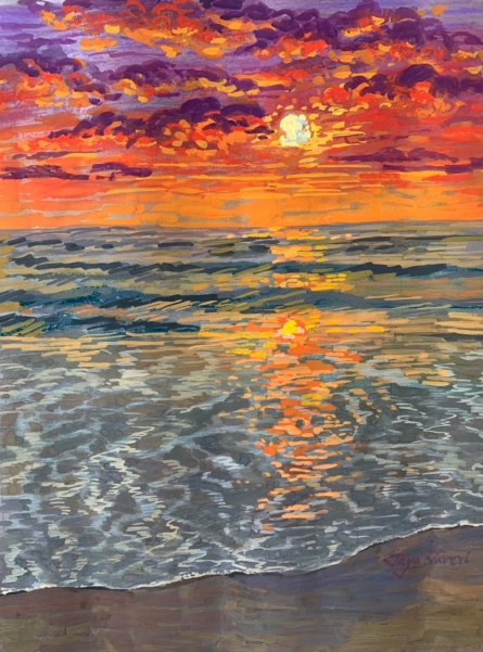 Seascape Mixed-media Art Painting title Sunset At Beach by artist Jaya Javeri