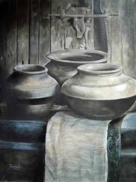 Rajashree Sutar | Acrylic Painting title Untitled 14 on Canvas | Artist Rajashree Sutar Gallery | ArtZolo.com