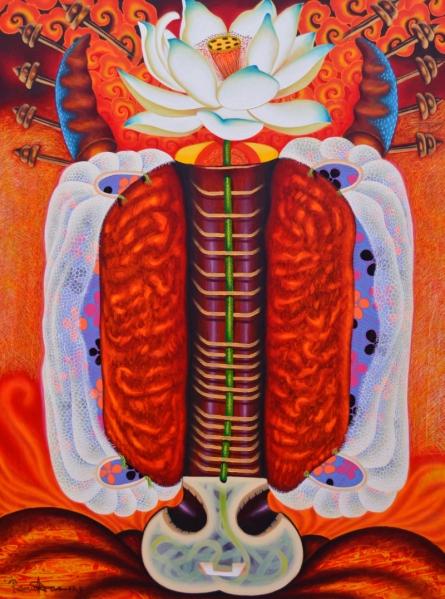 contemporary Acrylic Art Painting title 'Asraj' by artist Ramu Das