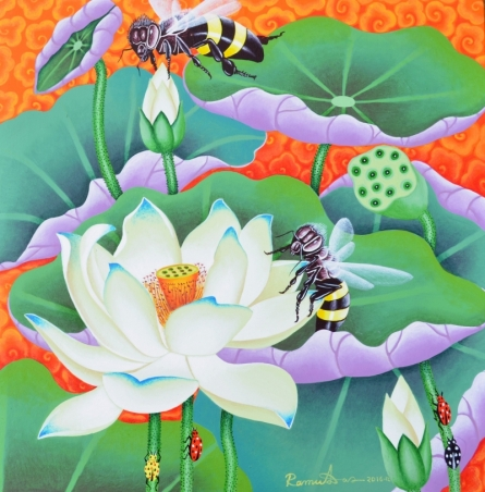 Nature Acrylic Art Painting title 'Lotus Pond' by artist Ramu Das