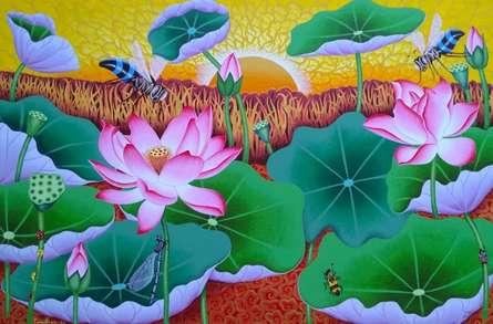 Ramu Das | Acrylic Painting title Morning Lotus Pond on Canvas | Artist Ramu Das Gallery | ArtZolo.com