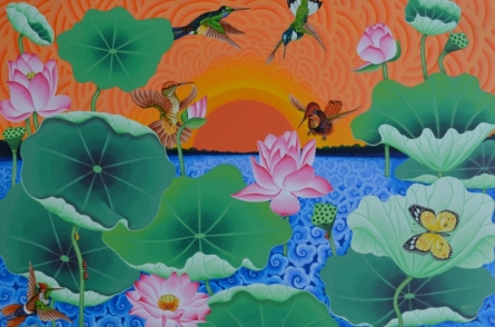 Sun Bird Are Playing In The Lotus Pond | Painting by artist Ramu Das | acrylic | Canvas