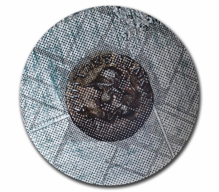 contemporary Acrylic-oil Art Painting title Coin the Dice by artist T Raju Gopalarao