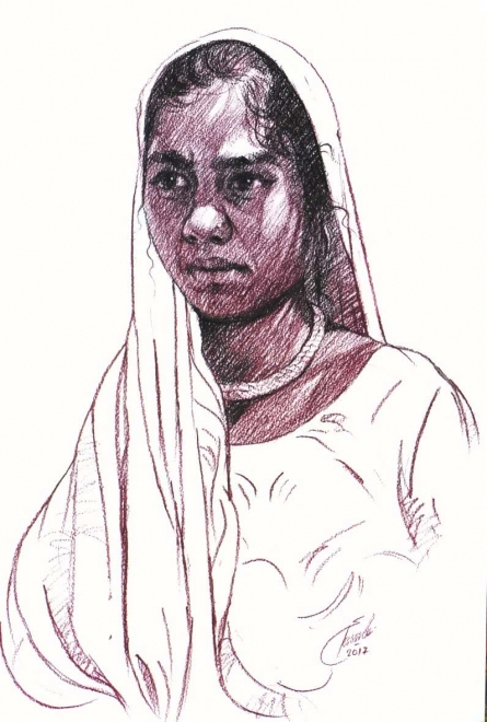 Charcoal Paintings | Drawing title Incredible Tribal Beauty 17 on Paper | Artist Sunil Paraji Tambe