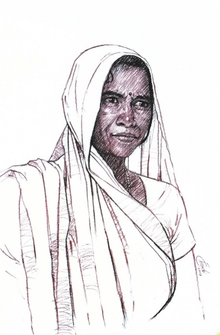 Charcoal Paintings | Drawing title Incredible Tribal Beauty 18 on Paper | Artist Sunil Paraji Tambe