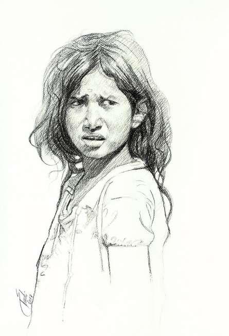 Portrait Charcoal Art Drawing title 'Incredible Tribal Beauty 19' by artist Sunil Paraji Tambe