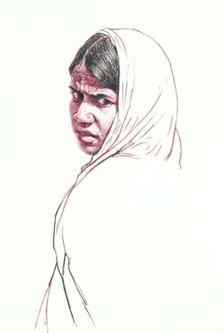 Portrait Charcoal Art Drawing title 'Incredible Tribal Beauty 22' by artist Sunil Paraji Tambe