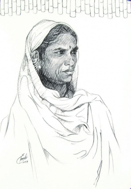 Portrait Charcoal Art Drawing title 'Incredible Tribal Beauty 29' by artist Sunil Paraji Tambe