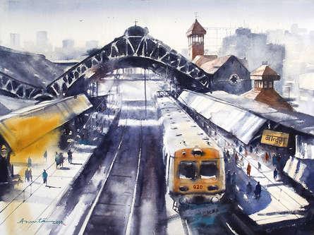 Cityscape Watercolor Art Painting title 'Bandra' by artist Ananta Mandal