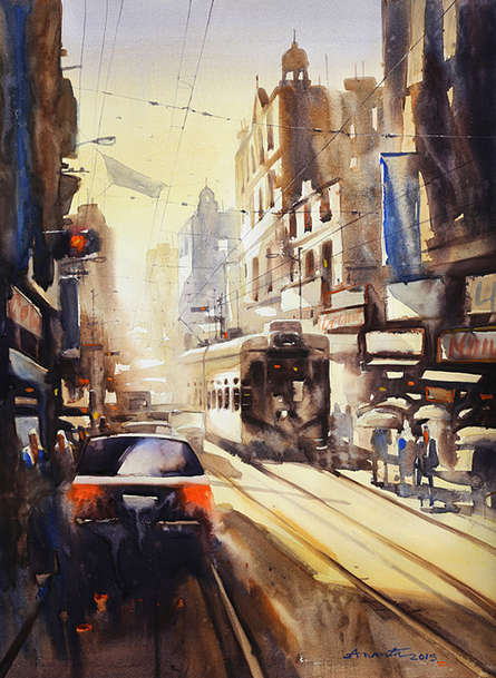 Ananta Mandal | Watercolor Painting title Freedom Of Kolkata II on Paper