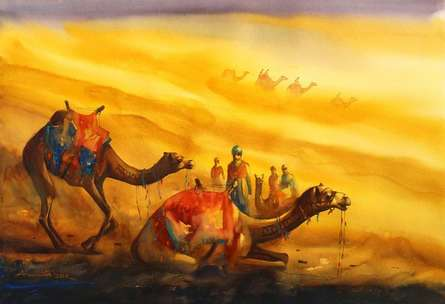 Ananta Mandal | Watercolor Painting title Golden Desert II on Paper | Artist Ananta Mandal Gallery | ArtZolo.com