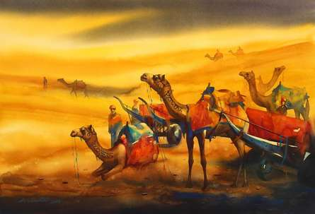 Ananta Mandal | Watercolor Painting title Golden Desert III on Paper | Artist Ananta Mandal Gallery | ArtZolo.com