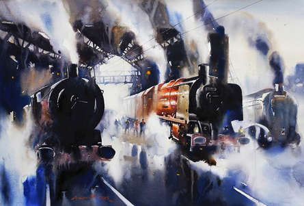 Cityscape Watercolor Art Painting title 'The Journey Iv' by artist Ananta Mandal