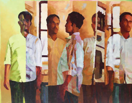 Figurative Oil Art Painting title Within 9 by artist Sameer Gorde