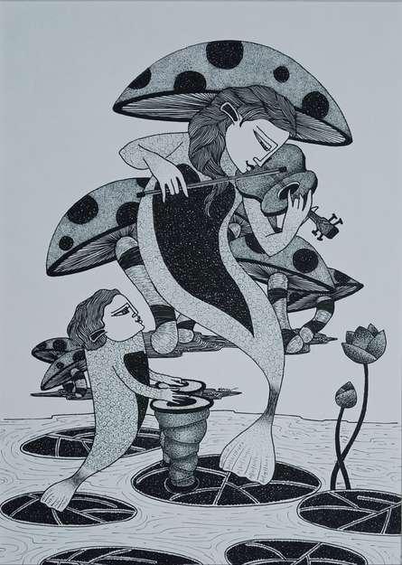 Figurative Ink Art Drawing title 'Untitled 3' by artist Chandrashekhar Kumavat