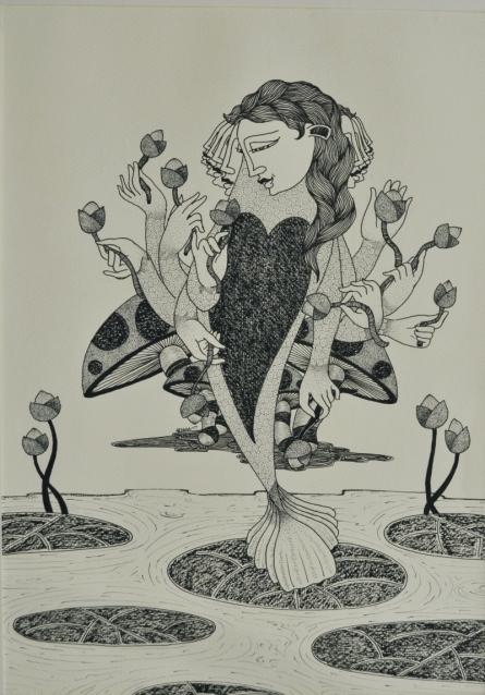 Figurative Ink Art Drawing title 'Untitled 5' by artist Chandrashekhar Kumavat